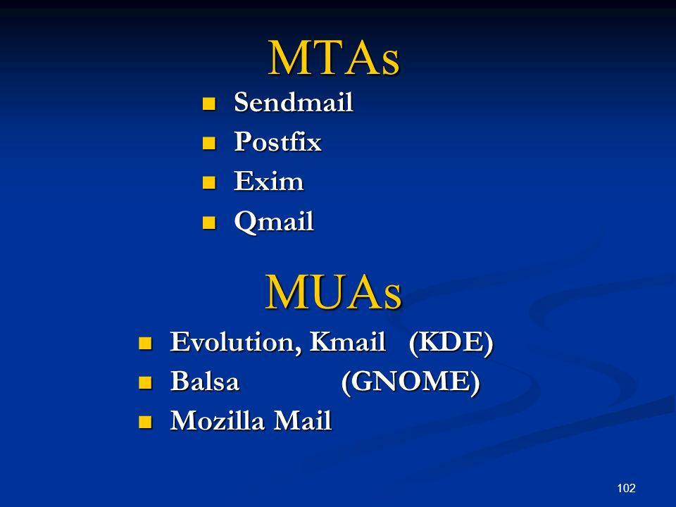 102 MTAs Sendmail Sendmail Postfix Postfix Exim Exim Qmail Qmail MUAs Evolution, Kmail(KDE) Evolution, Kmail(KDE) Balsa(GNOME) Balsa(GNOME) Mozilla Ma