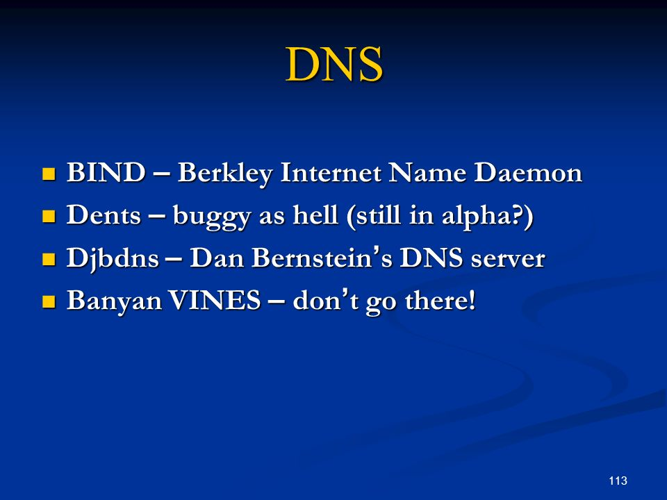 113 DNS BIND – Berkley Internet Name Daemon BIND – Berkley Internet Name Daemon Dents – buggy as hell (still in alpha?) Dents – buggy as hell (still i