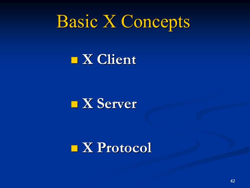 42 Basic X Concepts X Client X Client X Server X Server X Protocol X Protocol