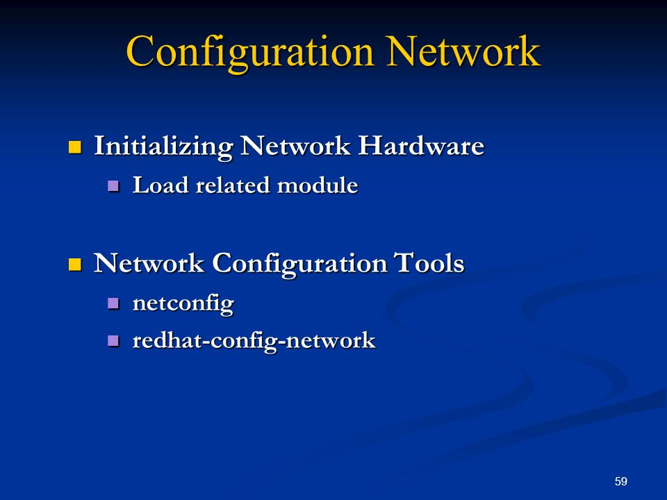 59 Configuration Network Initializing Network Hardware Initializing Network Hardware Load related module Load related module Network Configuration Too