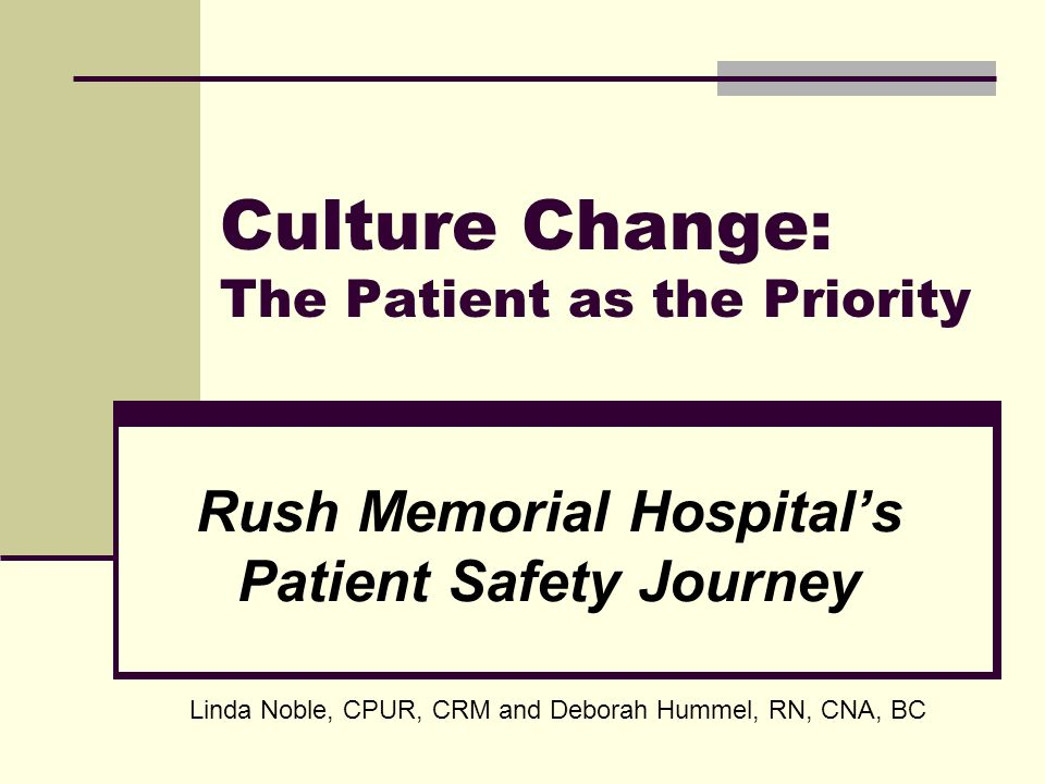 Culture Change: The Patient as the Priority Rush Memorial Hospitals Patient Safety Journey Linda Noble, CPUR, CRM and Deborah Hummel, RN, CNA, BC