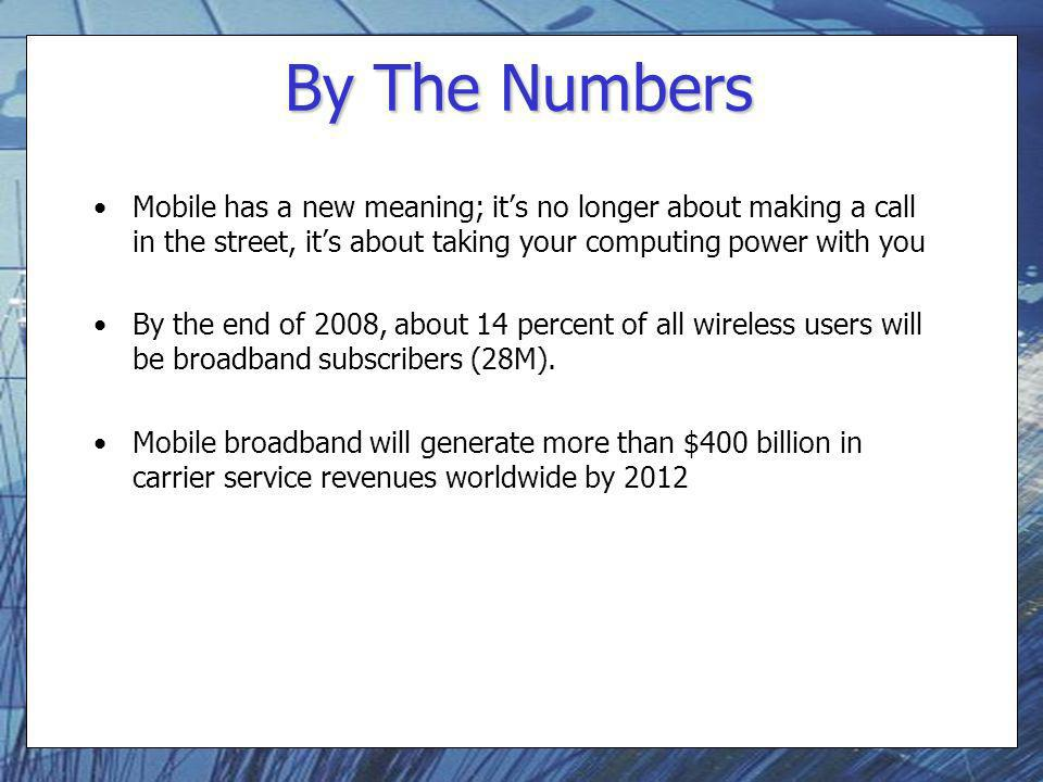 By The Numbers Mobile has a new meaning; its no longer about making a call in the street, its about taking your computing power with you By the end of
