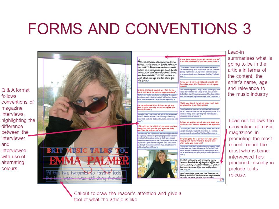 FORMS AND CONVENTIONS 3 Callout to draw the readers attention and give a feel of what the article is like Lead-in summarises what is going to be in th