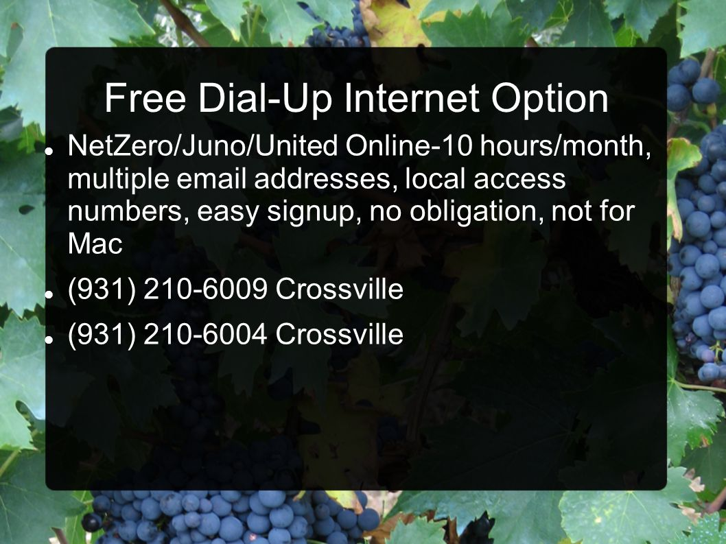 Free Dial-Up Internet Option NetZero/Juno/United Online-10 hours/month, multiple email addresses, local access numbers, easy signup, no obligation, no