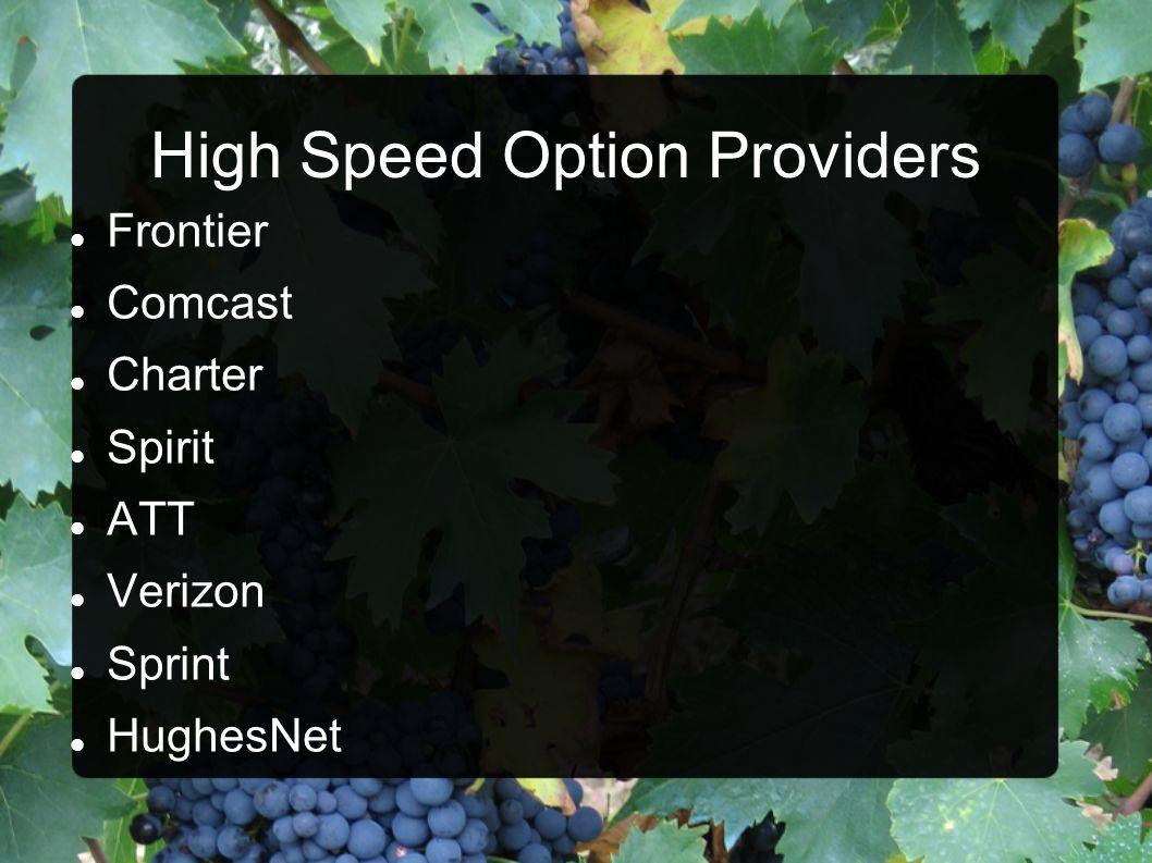 High Speed Option Providers Frontier Comcast Charter Spirit ATT Verizon Sprint HughesNet