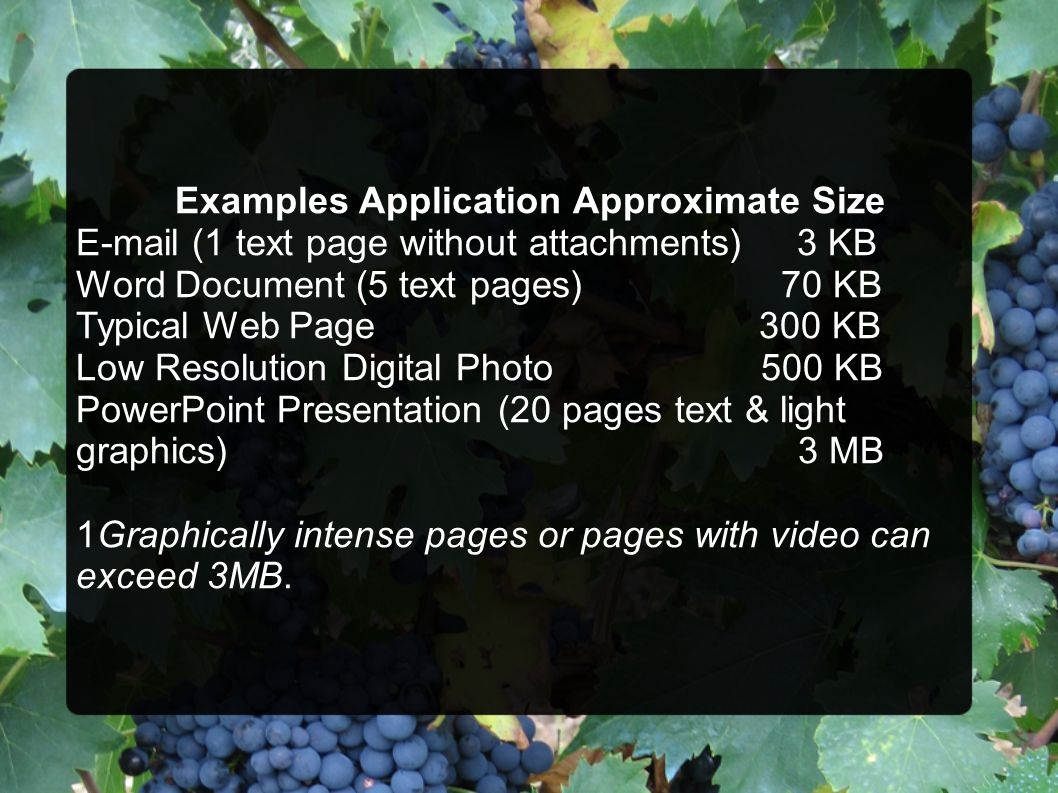 Examples Application Approximate Size E-mail (1 text page without attachments) 3 KB Word Document (5 text pages) 70 KB Typical Web Page 300 KB Low Res