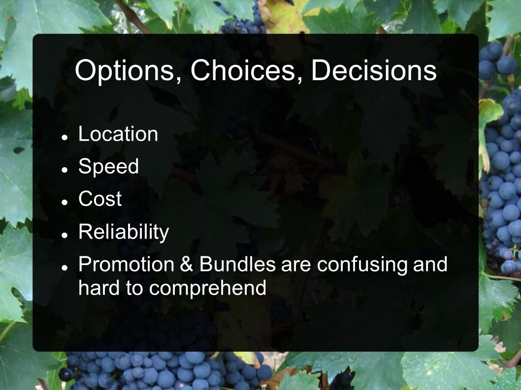 Options, Choices, Decisions Location Speed Cost Reliability Promotion & Bundles are confusing and hard to comprehend
