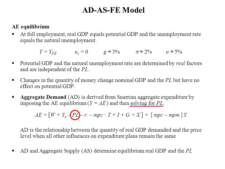 AE equilibrium At full employment, real GDP equals potential GDP and the unemployment rate equals the natural unemployment. Y = Y FE u c = 0 g 3% 2% u