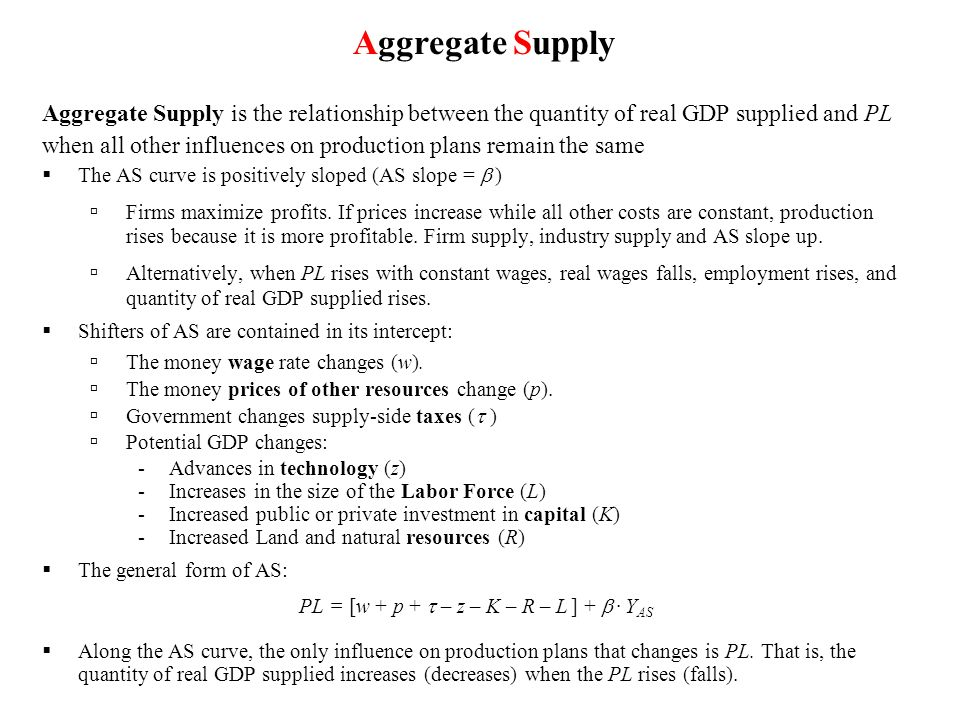 Aggregate Supply is the relationship between the quantity of real GDP supplied and PL when all other influences on production plans remain the same Th