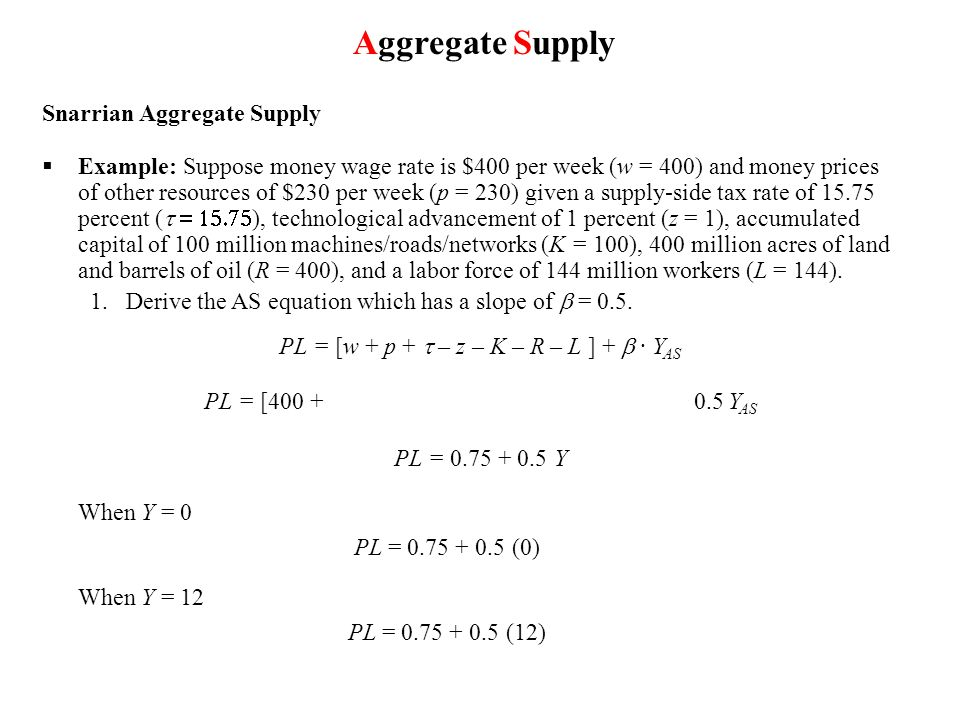 Snarrian Aggregate Supply Example: Suppose money wage rate is $400 per week (w = 400) and money prices of other resources of $230 per week (p = 230) g