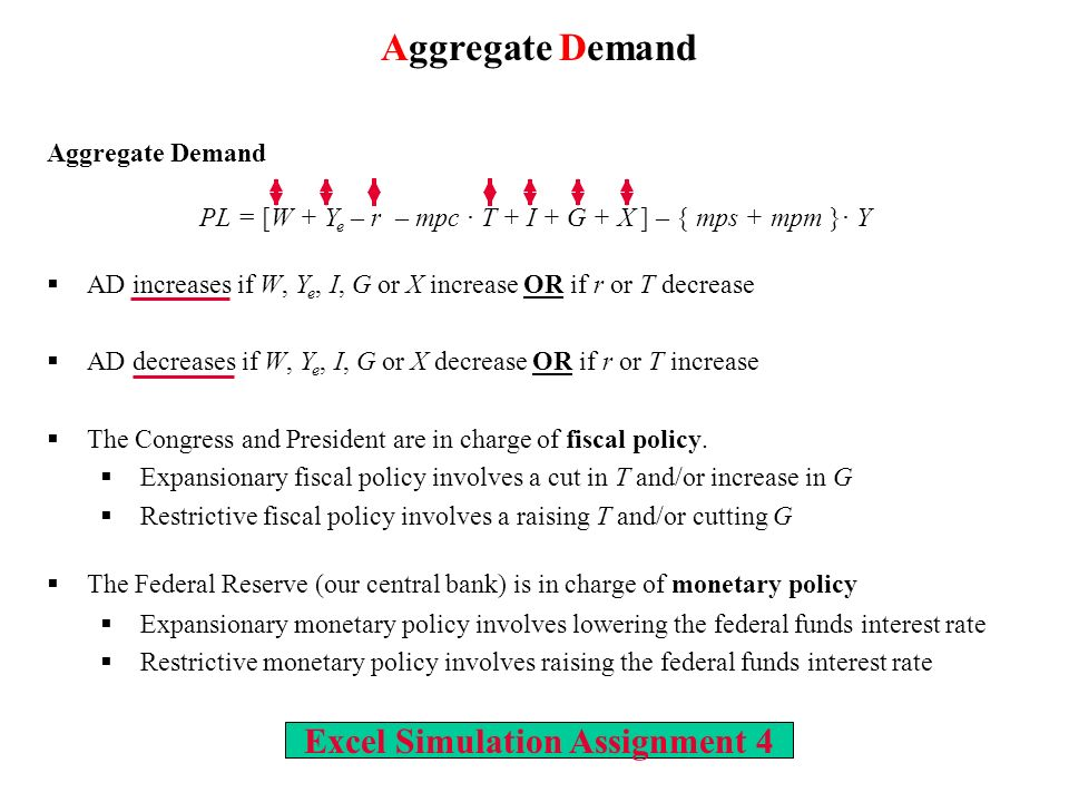 Excel Simulation Assignment 4 Aggregate Demand PL = [W + Y e – r – mpc T + I + G + X ] – { mps + mpm } Y AD increases if W, Y e, I, G or X increase OR