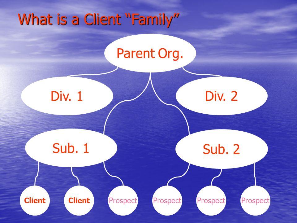 Parent Org. Sub. 2 Sub. 1 Div. 2 Div. 1 ClientProspectClientProspect What is a Client Family
