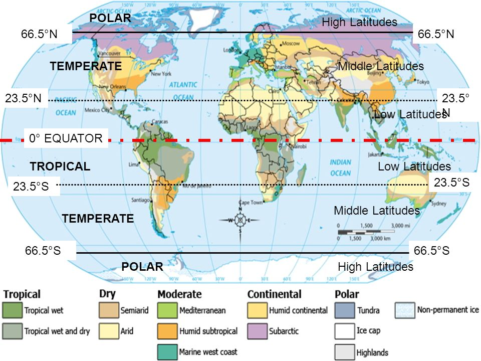 23.5°N 23.5°S 23.5° N 66.5°S 66.5°N 66.5°S 66.5°N TROPICAL TEMPERATE POLAR High Latitudes Low Latitudes Middle Latitudes 0° EQUATOR Low Latitudes