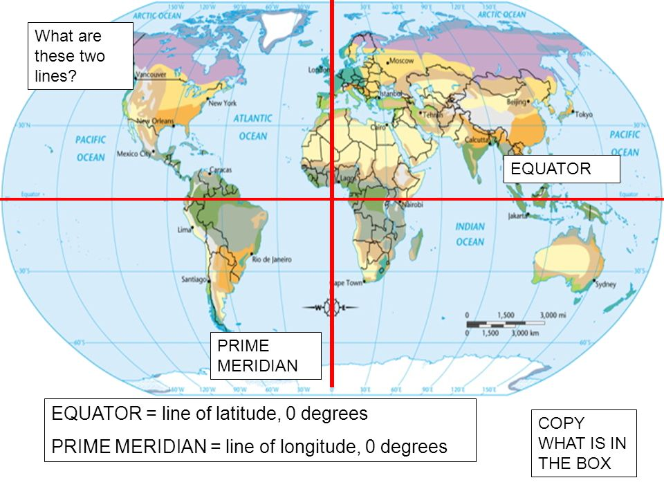 What are these two lines? EQUATOR PRIME MERIDIAN EQUATOR = line of latitude, 0 degrees PRIME MERIDIAN = line of longitude, 0 degrees COPY WHAT IS IN T