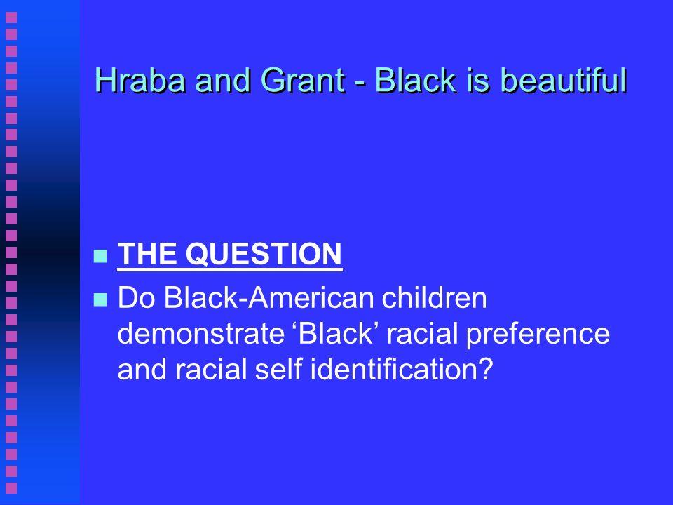 Hraba and Grant - Black is beautiful n KEY TERMS n n civil rights n n ethnocentrism n n identity n n race & racism n n role model n n segregation
