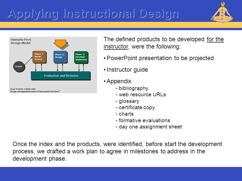 Applying Instructional Design The defined products to be developed for the instructor, were the following: PowerPoint presentation to be projected Ins