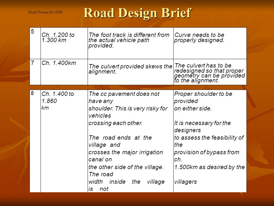 Road Design Brief 5 Ch.