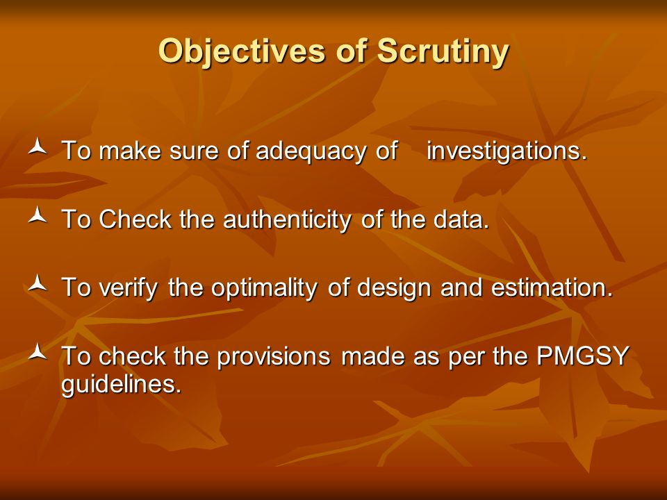 Objectives of Scrutiny To make sure of adequacy of investigations.