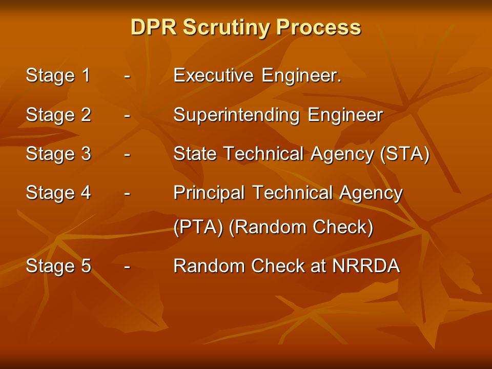 DPR Scrutiny Process Stage 1- Executive Engineer.