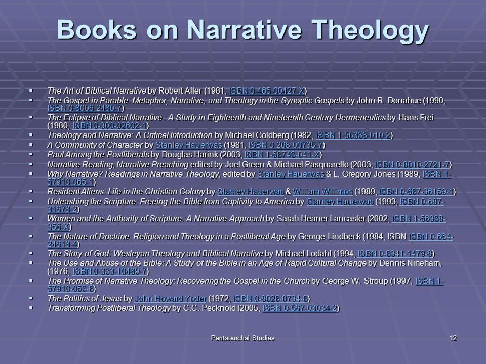 Pentateuchal Studies12 Books on Narrative Theology The Art of Biblical Narrative by Robert Alter (1981, ISBN 0-465-00427-X) The Art of Biblical Narrative by Robert Alter (1981, ISBN 0-465-00427-X)ISBN 0-465-00427-XISBN 0-465-00427-X The Gospel in Parable: Metaphor, Narrative, and Theology in the Synoptic Gospels by John R.