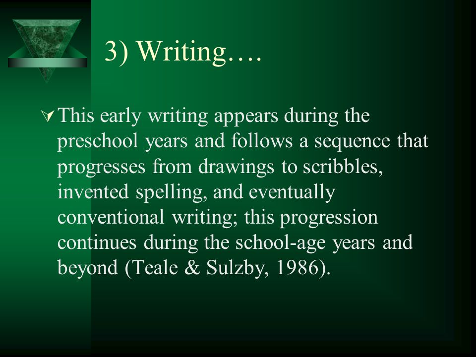 3) Writing…. This early writing appears during the preschool years and follows a sequence that progresses from drawings to scribbles, invented spellin