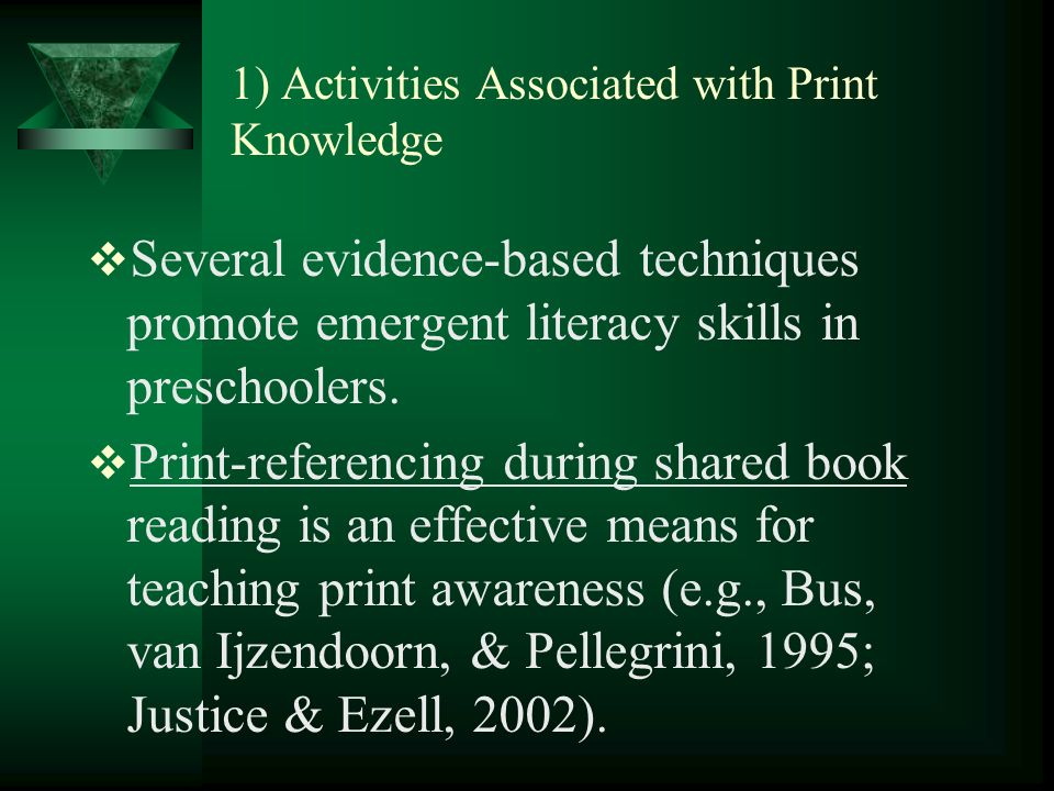 1) Activities Associated with Print Knowledge Several evidence-based techniques promote emergent literacy skills in preschoolers.