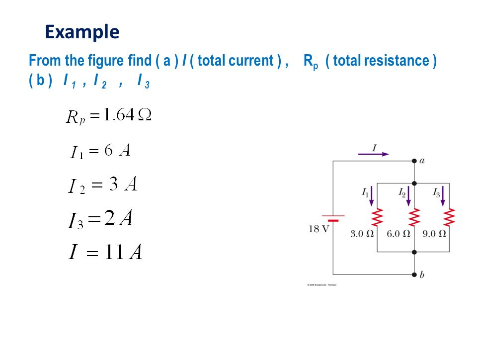 From the figure find ( a ) I ( total current ), R p ( total resistance ) ( b ) I 1, I 2, I 3