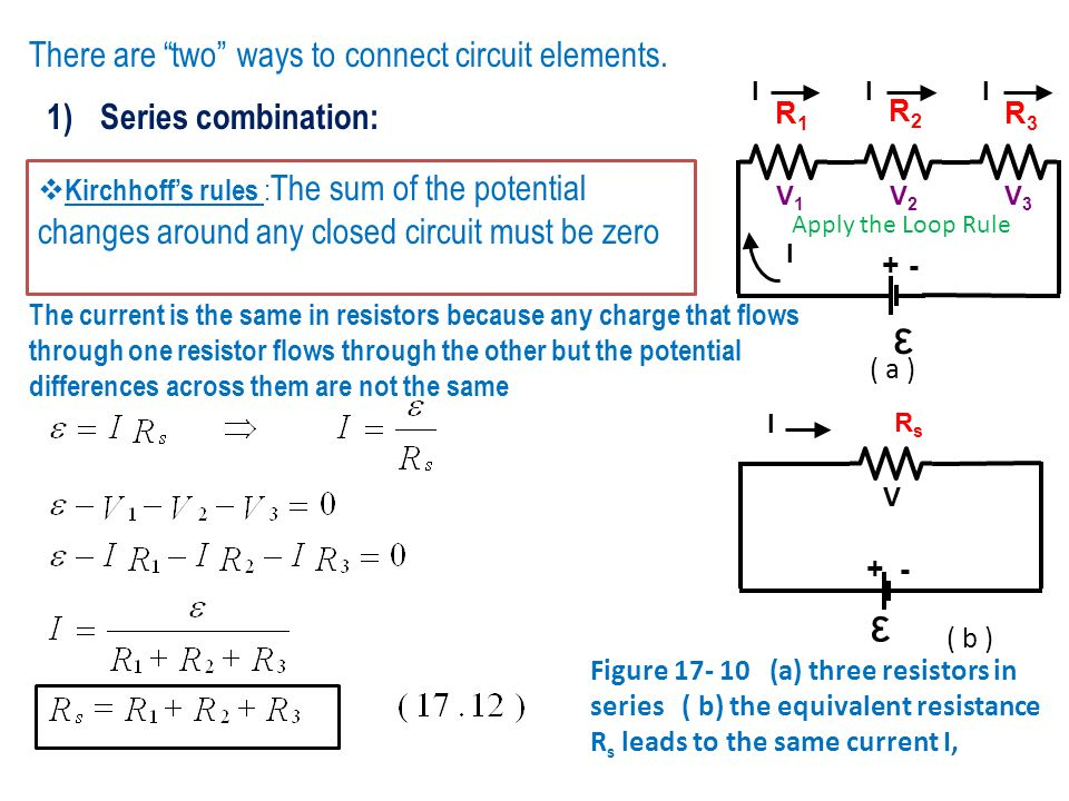 Kirchhoffs rules : The sum of the potential changes around any closed circuit must be zero There are two ways to connect circuit elements. 1)Series co