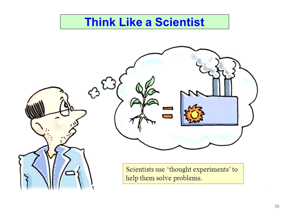 Think Like a Scientist Scientists use thought experiments to help them solve problems. 30