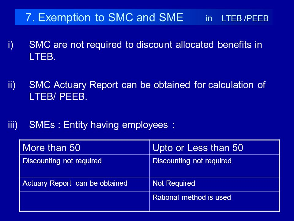 7. Exemption to SMC and SME in LTEB /PEEB i)SMC are not required to discount allocated benefits in LTEB. ii)SMC Actuary Report can be obtained for cal
