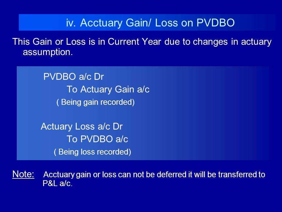 This Gain or Loss is in Current Year due to changes in actuary assumption. PVDBO a/c Dr To Actuary Gain a/c ( Being gain recorded) Actuary Loss a/c Dr
