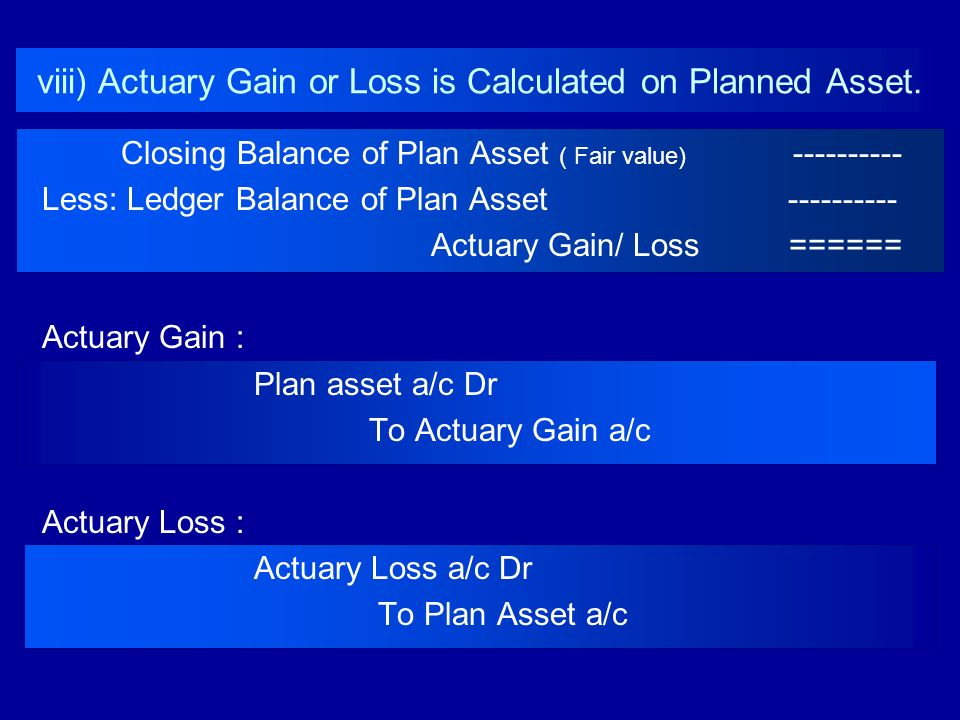 viii) Actuary Gain or Loss is Calculated on Planned Asset. Closing Balance of Plan Asset ( Fair value) ---------- Less: Ledger Balance of Plan Asset -