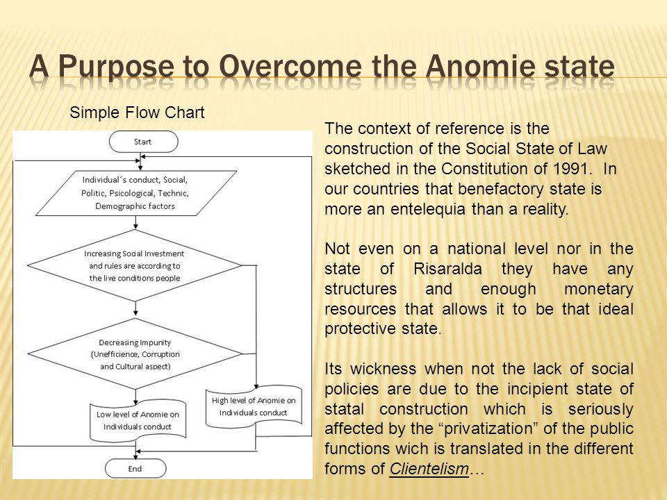 Simple Flow Chart The context of reference is the construction of the Social State of Law sketched in the Constitution of 1991.