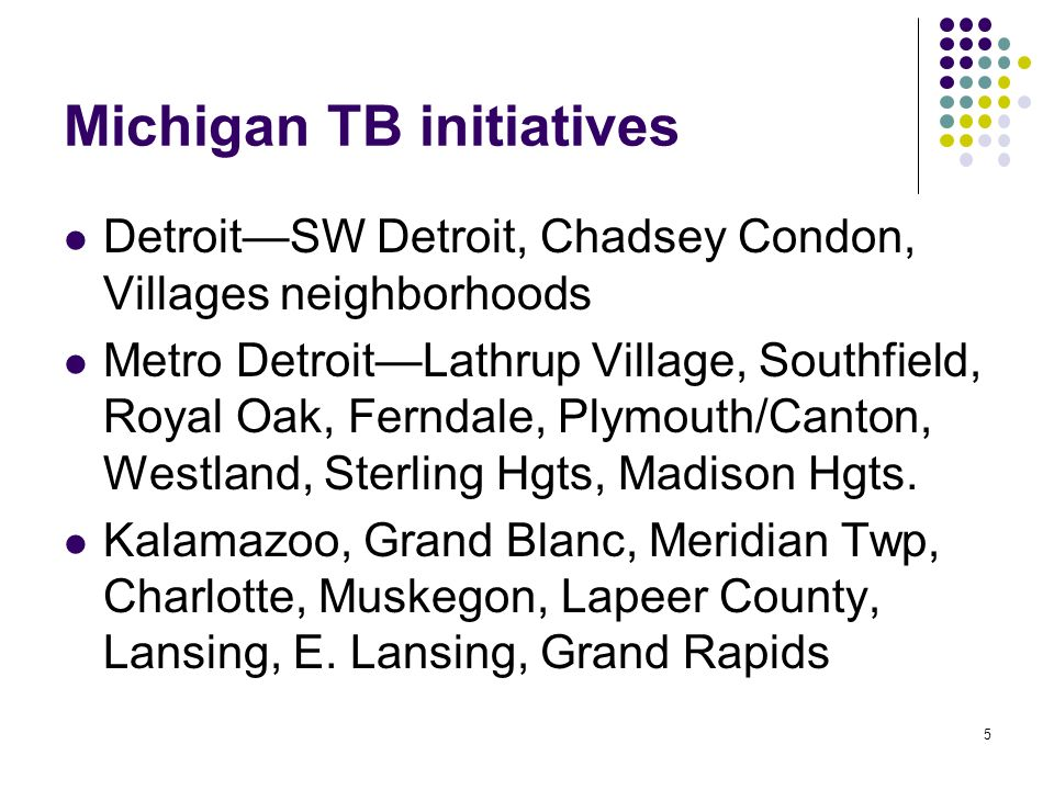 5 Michigan TB initiatives DetroitSW Detroit, Chadsey Condon, Villages neighborhoods Metro DetroitLathrup Village, Southfield, Royal Oak, Ferndale, Plymouth/Canton, Westland, Sterling Hgts, Madison Hgts.