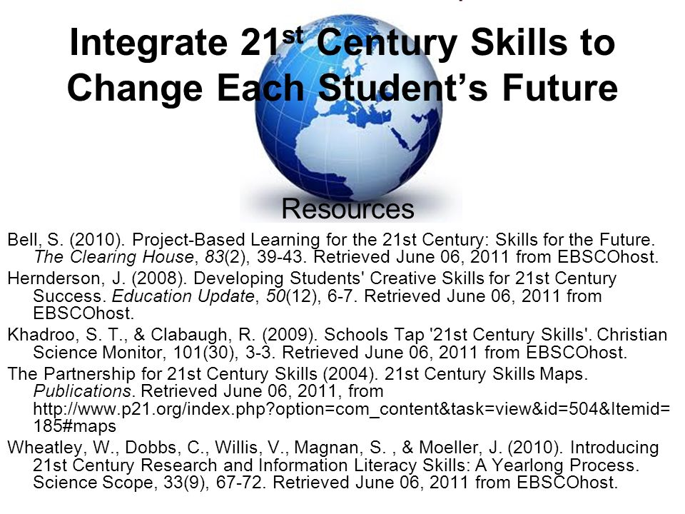 Integrate 21 st Century Skills to Change Each Students Future Bell, S.