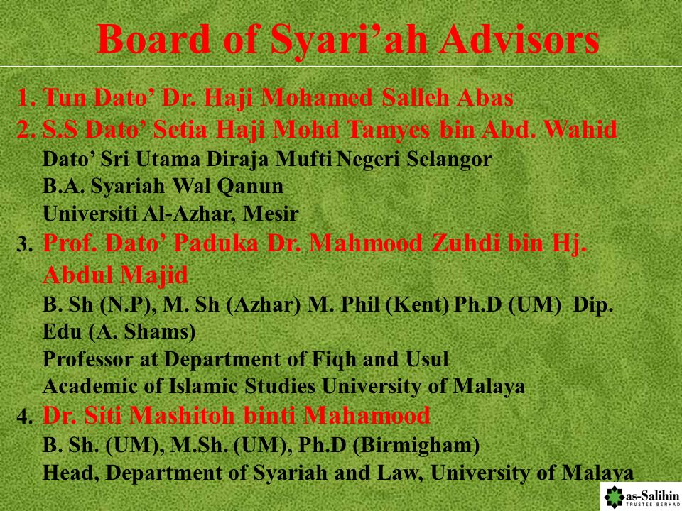 BOARD OF DIRECTORS 1. Tun Dato Dr. Haji Mohamed Salleh Abas S.S.M, P.M.N, P.S.M, P.Y.G.P, S.P.M.T, D.P.M.T, J.M.N, S.M.T. LLB(Hons) (Wales) of Middle