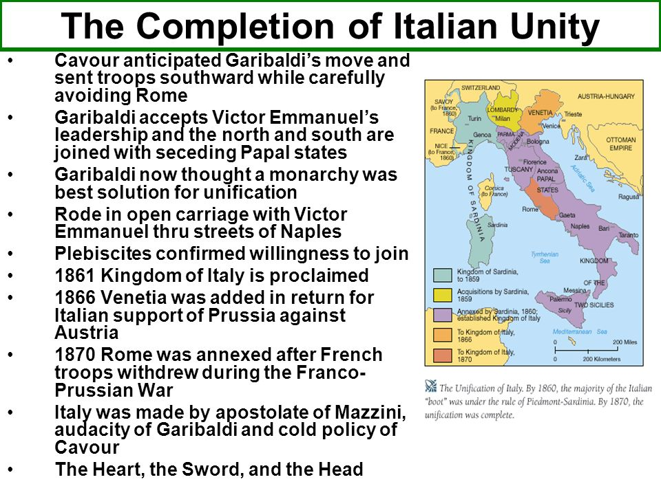 The Completion of Italian Unity Cavour anticipated Garibaldis move and sent troops southward while carefully avoiding Rome Garibaldi accepts Victor Em