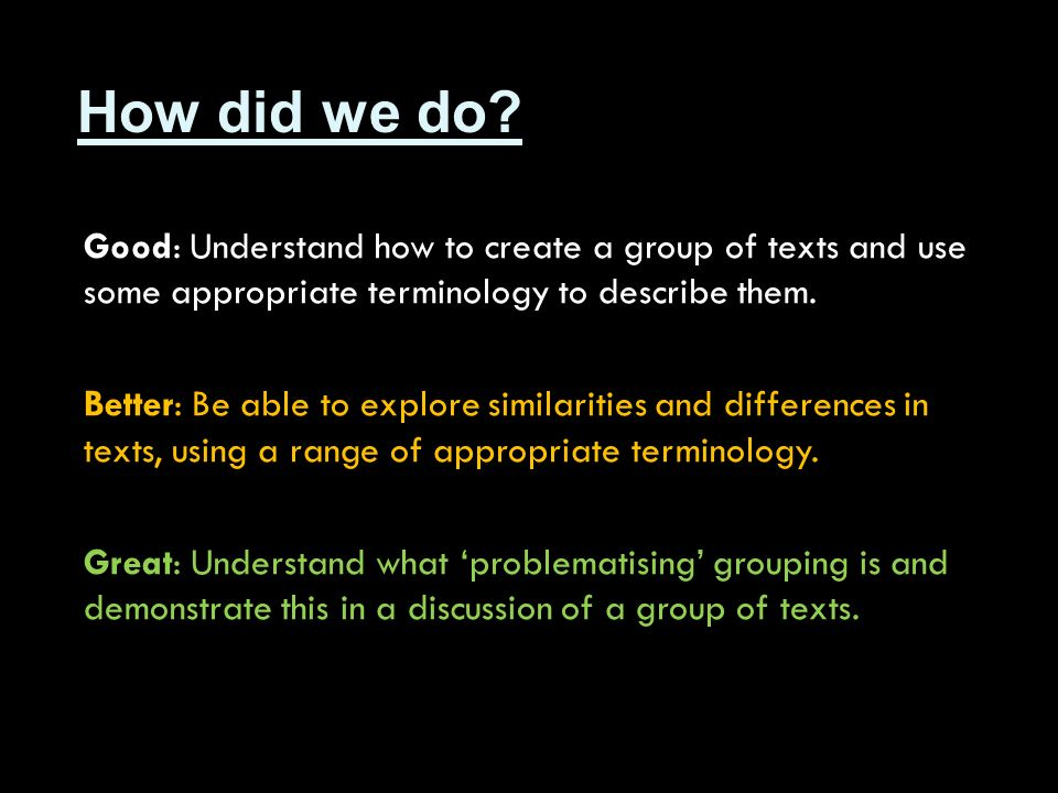 How did we do? Good: Understand how to create a group of texts and use some appropriate terminology to describe them. Better: Be able to explore simil