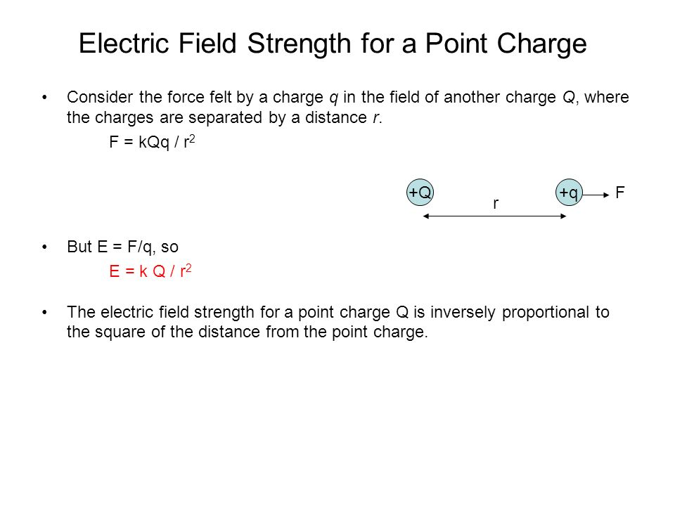 Electric Field Strength for a Point Charge Consider the force felt by a charge q in the field of another charge Q, where the charges are separated by