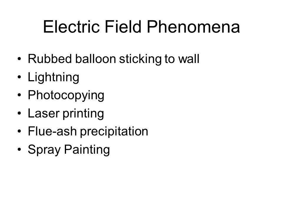 Electric Field Phenomena Rubbed balloon sticking to wall Lightning Photocopying Laser printing Flue-ash precipitation Spray Painting