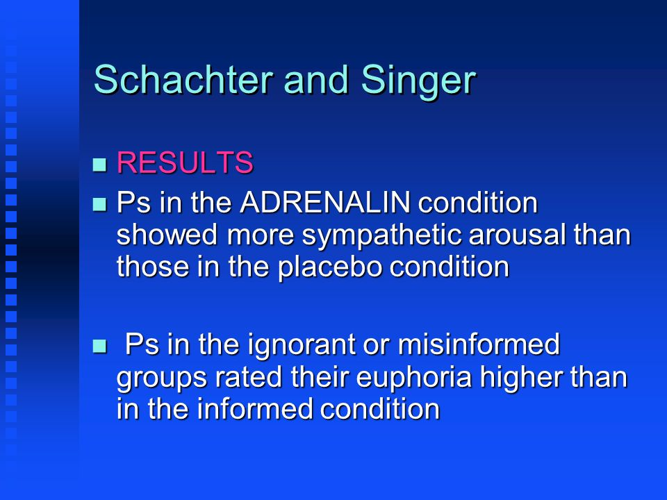 Schachter and Singer n RESULTS n Ps in the ADRENALIN condition showed more sympathetic arousal than those in the placebo condition n Ps in the ignoran