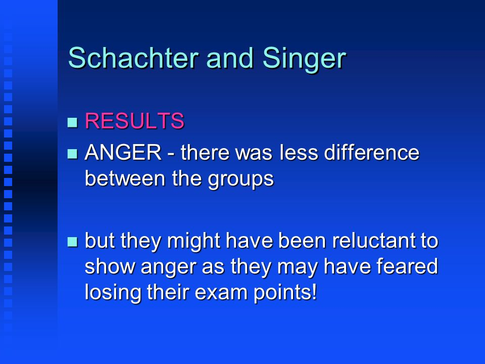 Schachter and Singer n RESULTS n ANGER - there was less difference between the groups n but they might have been reluctant to show anger as they may h