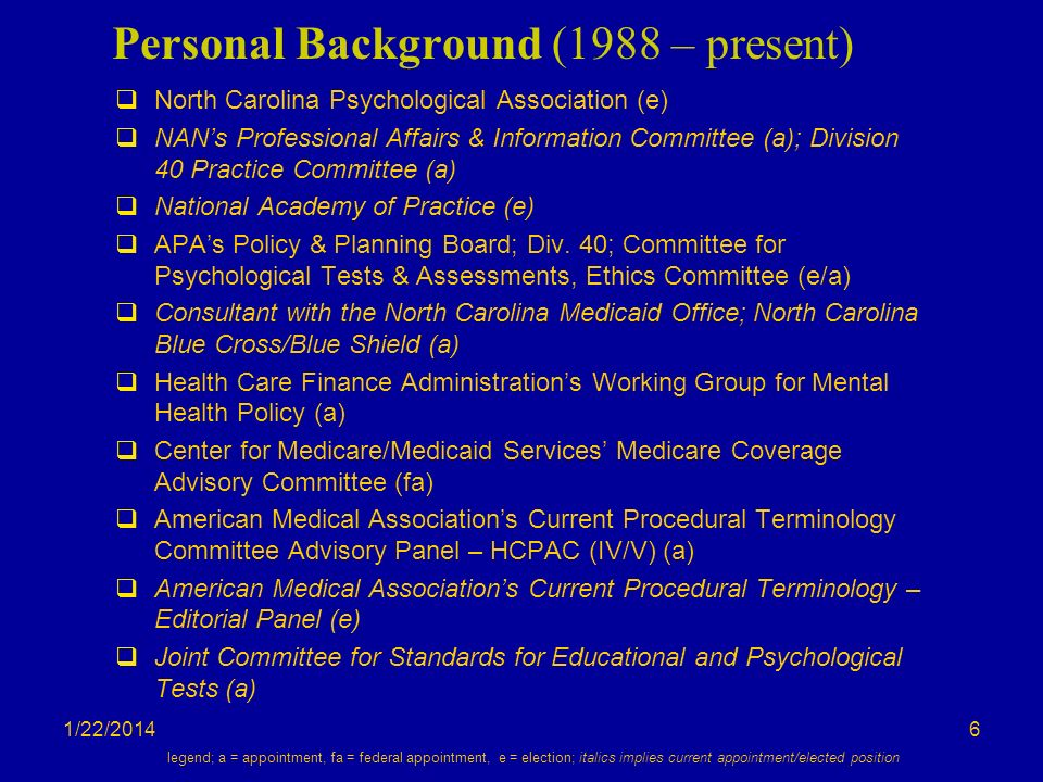 1/22/2014 Personal Background (1988 – present) North Carolina Psychological Association (e) NANs Professional Affairs & Information Committee (a); Division 40 Practice Committee (a) National Academy of Practice (e) APAs Policy & Planning Board; Div.