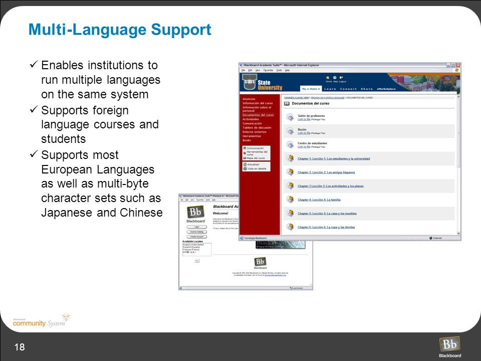 18 Multi-Language Support Enables institutions to run multiple languages on the same system Supports foreign language courses and students Supports most European Languages as well as multi-byte character sets such as Japanese and Chinese
