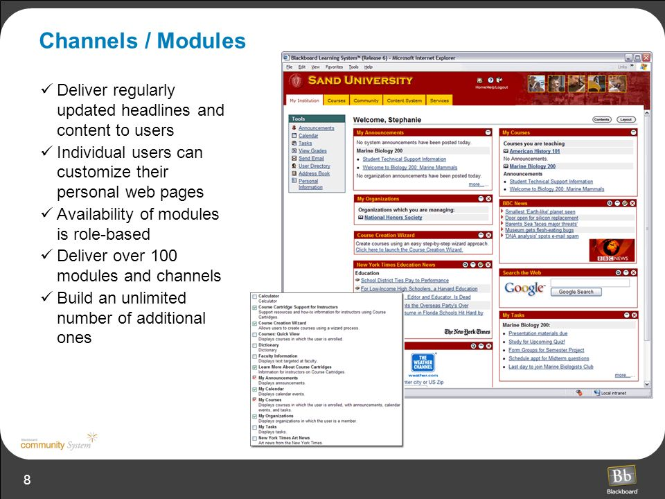 8 Channels / Modules Deliver regularly updated headlines and content to users Individual users can customize their personal web pages Availability of