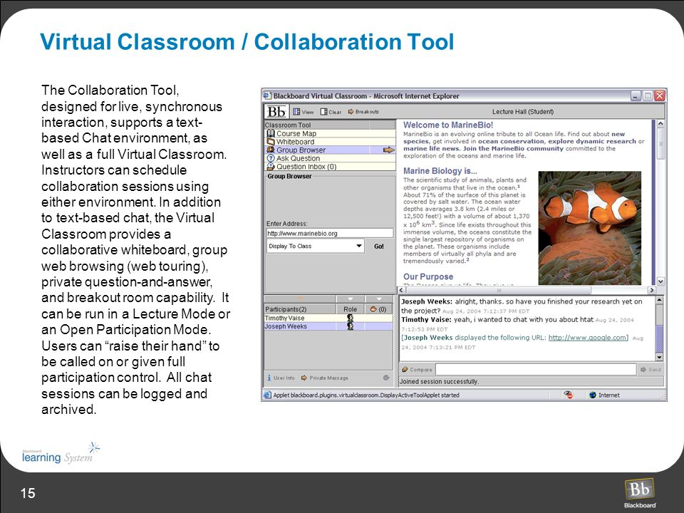 15 Virtual Classroom / Collaboration Tool The Collaboration Tool, designed for live, synchronous interaction, supports a text- based Chat environment, as well as a full Virtual Classroom.