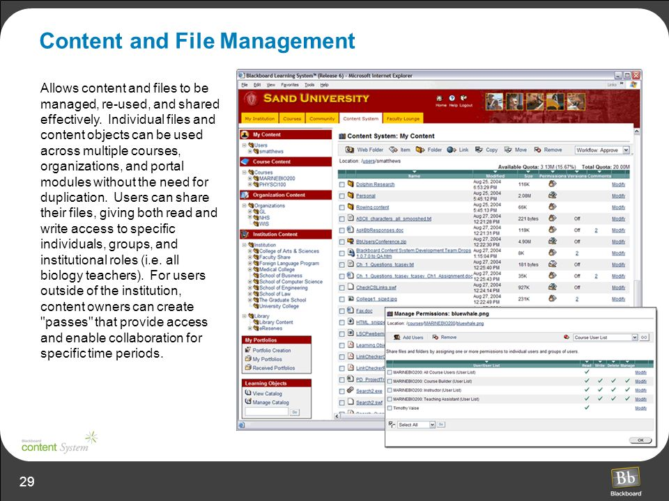 29 Content and File Management Allows content and files to be managed, re-used, and shared effectively.