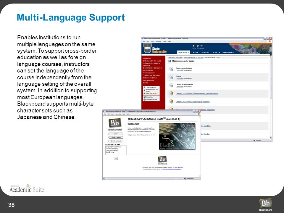 38 Multi-Language Support Enables institutions to run multiple languages on the same system. To support cross-border education as well as foreign lang