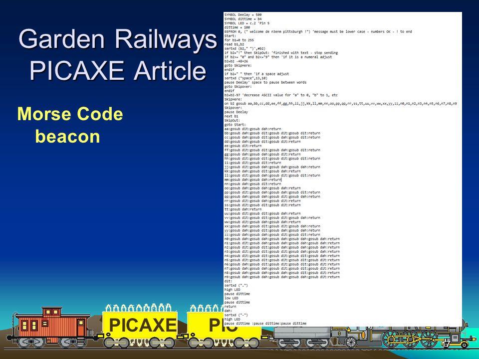 PICAXEPIC 17 Garden Railways PICAXE Article Morse Code beacon