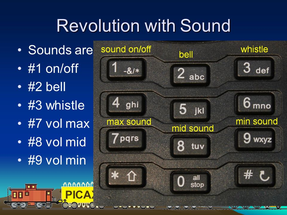 PICAXEPIC 80 Revolution with Sound Sounds are controlled by the keypad #1 on/off #2 bell #3 whistle #7 vol max #8 vol mid #9 vol min